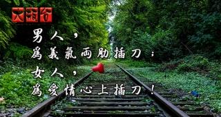 男人,為義氣兩肋插刀;女人,為愛情心上插刀!