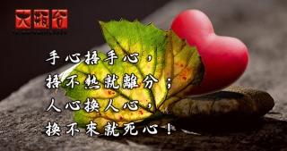 手心捂手心,捂不熱就離分;人心換人心,換不來就死心!