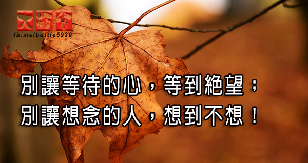 別讓等待的心,等到絕望;別讓想念的人,想到不想!