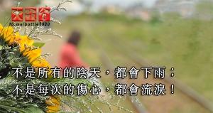 不是所有的陰天,都會下雨;不是每次的傷心,都會流淚!